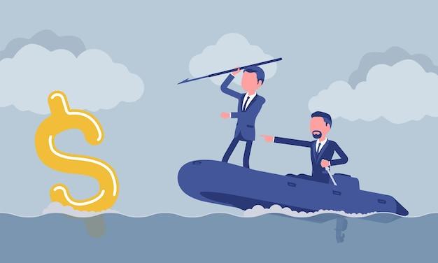 Pêche d'affaires pour l'argent avec le harpon
