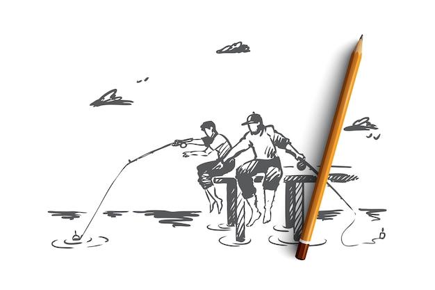 Pêche, amis, deux, concept de vacances. main a dessiné deux amis pêchant sur l'esquisse de concept de rive de la rivière.