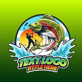 Pêche au logo templeate