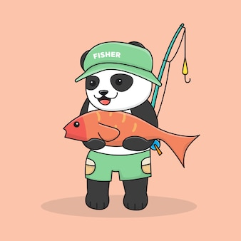 Pêche au panda mignon avec canne à pêche et chapeau