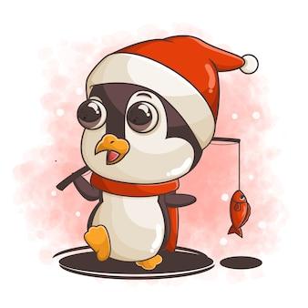 Pêche aux pingouins dessinés à la main