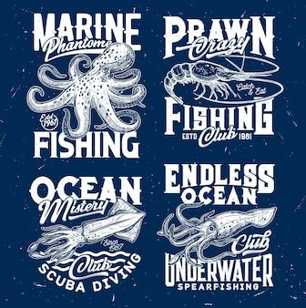 Pêche à la crevette marine, club de plongée sous-marine. gravure de poulpe et crevette ou crevette, calmar ou seiche.