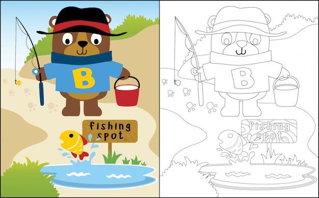 Pêche drôle de bande dessinée ours
