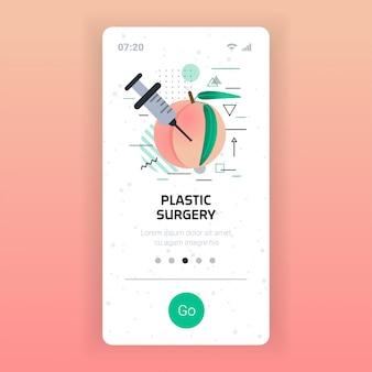 Pêche fraîche avec seringue injection d'acide hyaluronique procédure médicale anti-âge cosmétologique concept de chirurgie plastique écran de smartphone application mobile copie espace