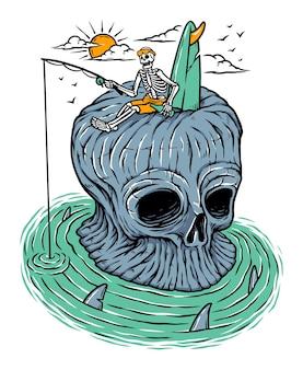 Pêche sur l'île du crâne isolé sur blanc