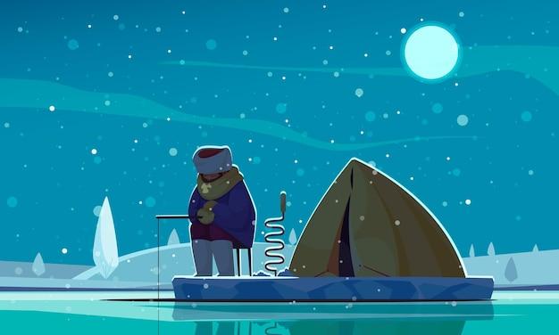 Pêche de nuit d'hiver composition plate pêcheur sur glace tenant une perceuse avec tente derrière lui illustration