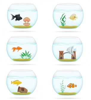 Pêcher dans une illustration vectorielle d'aquarium transparent