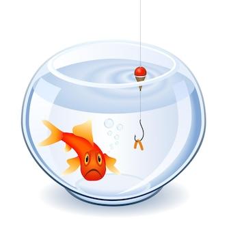 Pêcher le poisson rouge avec un ver
