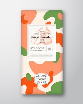 Pêches chocolat étiquette formes abstraites vecteur mise en page de conception d'emballage