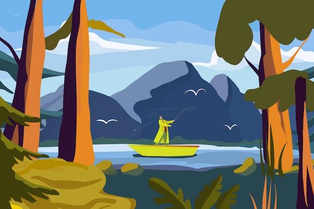Pêcheur attraper du poisson, personnage masculin personnage flotteur bateau en plein air parc national rivière illustration de dessin animé. l'homme utilise une canne à pêche.
