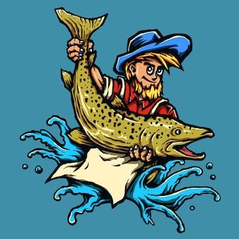 Pêcheur attraper un gros poisson