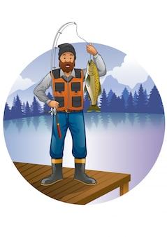 Pêcheur à barbe montre sa prise