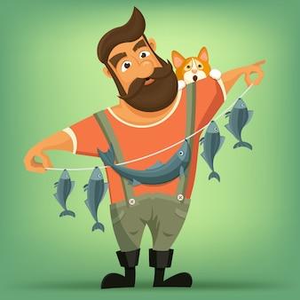 Pêcheur barbu beau brutal avec chat.