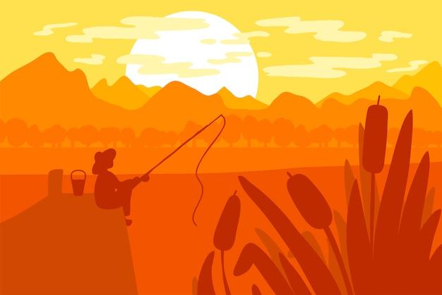 Pêcheur avec canne à pêche