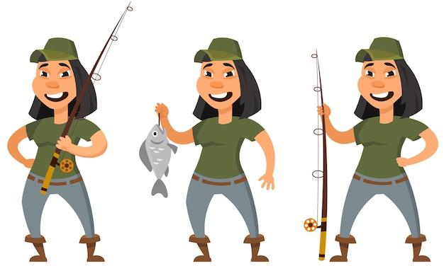 Pêcheur dans différentes poses. personnage féminin en style cartoon.