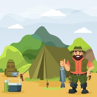 Pêcheur détient des poissons pêchés sur l'illustration de la nature. personnage de dessin animé à l'activité de pêche en plein air près de la tente.