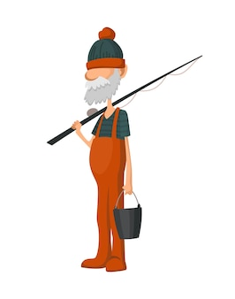 Pêcheur pêchant avec canne à pêche