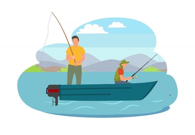 Pêcheur, pêche, depuis, bateau, illustration vectorielle