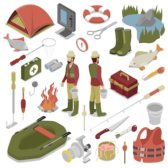 Pêcheur avec poisson, tige, crochet et bateau. outils de pêche. illustration isométrique de vecteur plat 3d