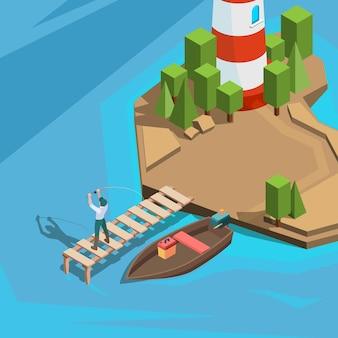 Pêcheur à quai en plein air en bateau de pêche en rivière ou en mer avec des vacances actives en rotation
