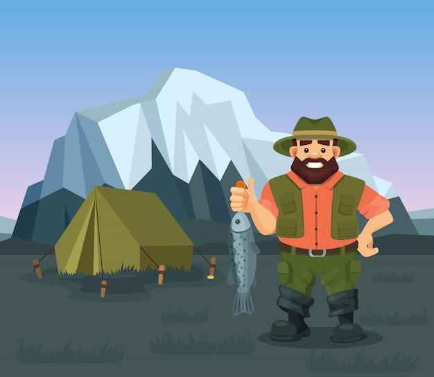 Pêcheur, tenue, attrapé, fish, illustration pêche dans un paysage naturel sauvage, montagnes enneigées, tente.