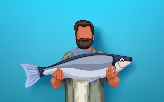 Pêcheur, tenue, gros poisson