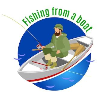 Pêcheur en vêtements de protection pendant la pêche en bateau sur rond bleu