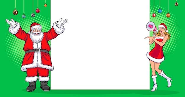 Peeking santa claus coffret cadeau tableau blanc et femme santa tenir mégaphone vintage pop art comic style