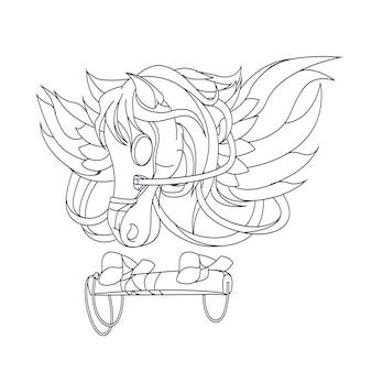 Pegasus dessiné à la main isolé sur blanc