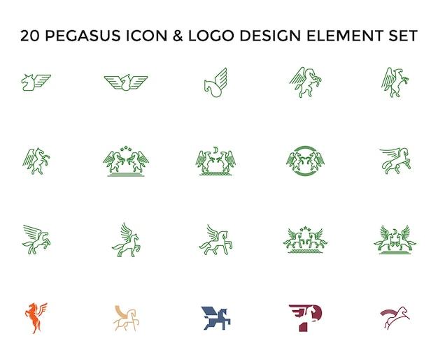 Pegasus icon logo design set