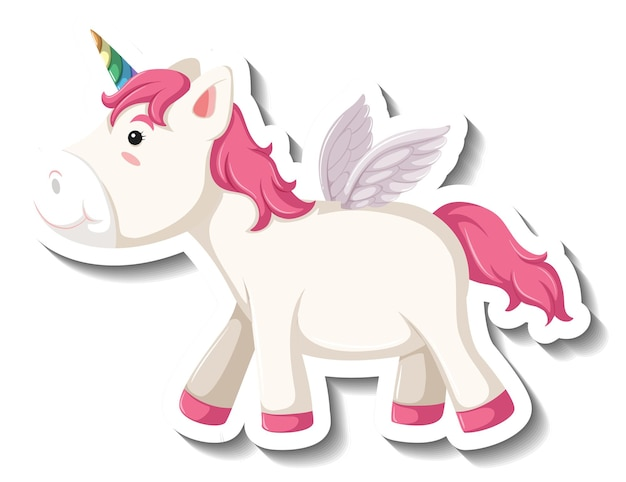 Pegasus mignon pose debout sur fond blanc