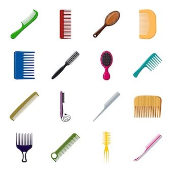 Peigne jeu d'icônes de dessin animé, peigne et brosse.