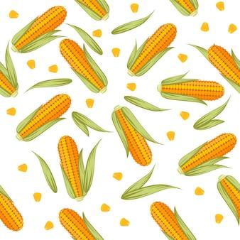 Peignes de maïs avec des feuilles de laitue modèle sans couture illustration vectorielle plane sur fond blanc.