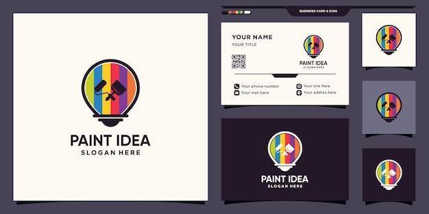 Peindre le logo de l'idée avec le concept de l'ampoule et la conception de la carte de visite vecteur premium