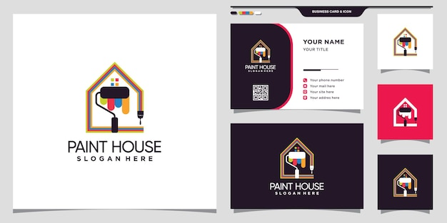 Peindre le logo de la maison avec une brosse à rouleaux et un concept unique et une conception de carte de visite vecteur premium