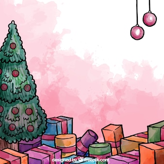 Peint à la main arbre de noël avec des cadeaux