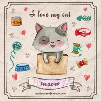 Peint à la main belle chaton avec des éléments pour animaux de compagnie