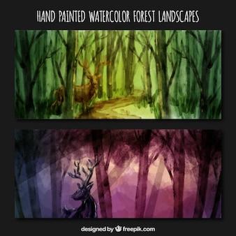 Peint à la main belle forêt avec des bannières dell