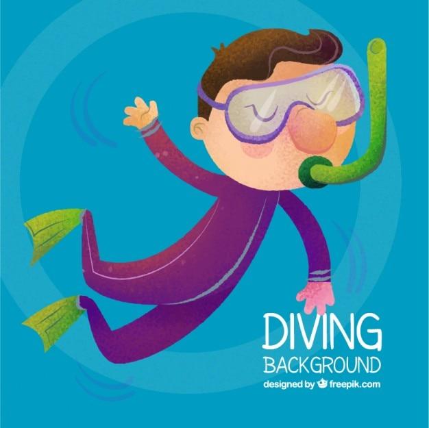 Peint à la main belle plongée sous-marine