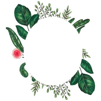 Peint à la main avec cadre floral de marqueurs avec rameau, branche et feuilles abstraites vertes