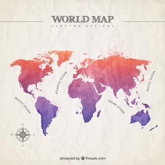 Peint à la main la carte du monde