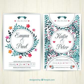 Peint à la main la carte de mariage floral