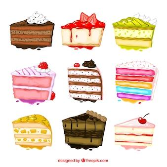 Peint à la main la collecte des gâteaux
