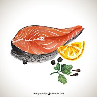 Peint à la main darne de saumon
