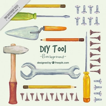 Peint à la main fond sur les outils d'artisanat