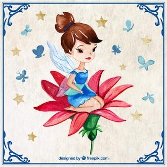 Peint à la main jolie fée dans une fleur rouge