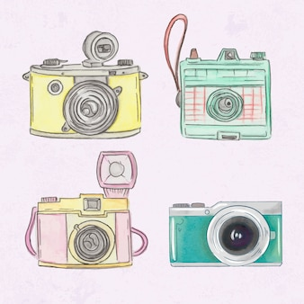 Peint à la main mignonne polaroid caméras ensemble