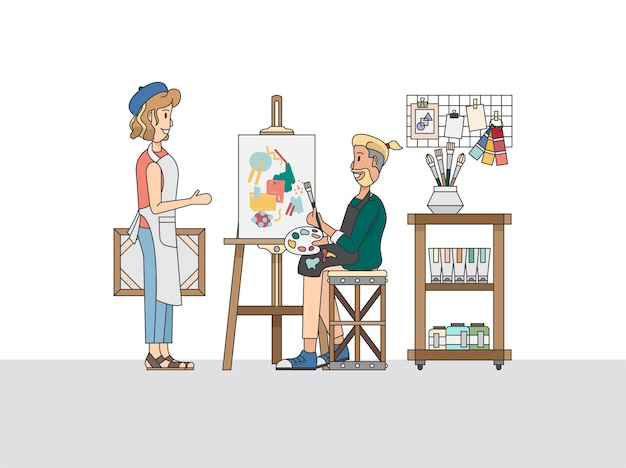Un peintre artistique et un étudiant dans un studio