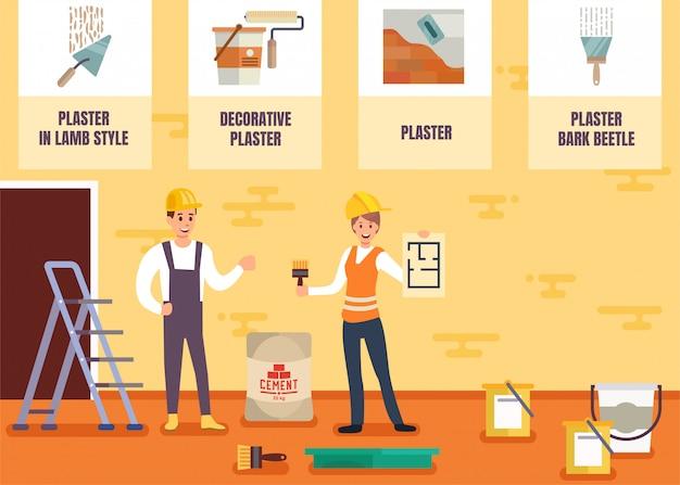 Peintre en bâtiment et plâtrier vecteur de service