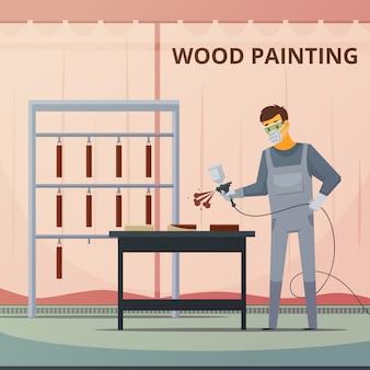 Peintre en bois professionnel pulvérisant de la peinture acrylique sur des pièces de meubles en bois